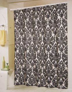black and white medallion printed fabric shower curtain and matching