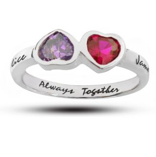 Sterling Silver Couples Name and Birthstone Ring Personlized