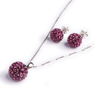 sterling silver crystal ball earring necklace jewelry set Birthstone
