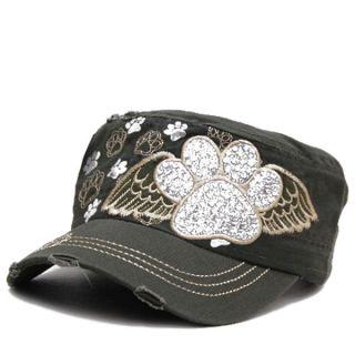 Dog Paw Bling Angel Paws Baseball Cap Hat Cap Cadet Military Style