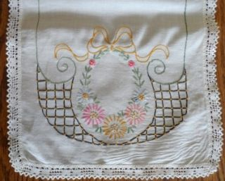 Linen Hand Embroidered Table Runner 12 x 37 Hand Crocheted Lace Edge