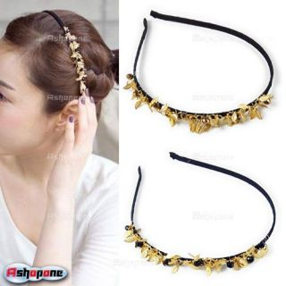 Bling Bling Party Gold Leaves Beads Hair Band Headband