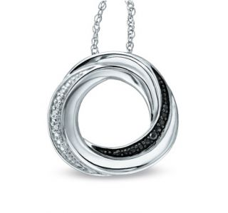 Black White Diamond Sterling Silver Knot Circle Pendant Necklace Zales