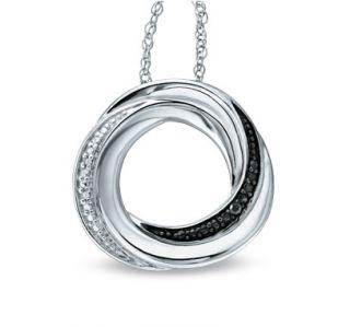 Black White Diamond Sterling Silver Knot Circle Pendant Necklace Zales