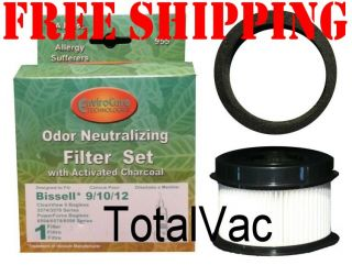 Bissell Vacuum Style 9 10 12 16 HEPA Inner Filter and Outer Foam