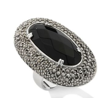 SOLD OUT Black Onyx Marcasite Sterling Silver Faceted Oval Ring 10 70