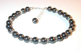SWAROVSKI CRYSTAL PEARL Elements Sterling Silver Bracelet BLACK