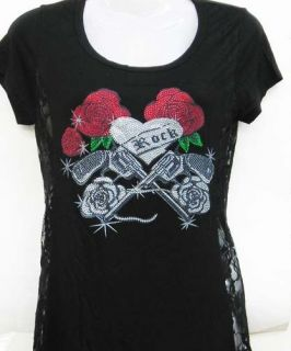 BLACK ROCK GUN ROSES RHINESTONE LACE SIDE T TEE SHIRT TUNIC TOP