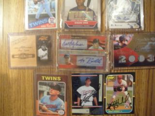 TWIN AUTOGRAPH STAR LOT CAREW KILLEBREW OLIVA BLYLEVEN PUCKETT MORNEAU
