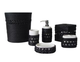 New Sebrina 6 Piece Bathroom Accessory Set Black White Bath Soap Dish