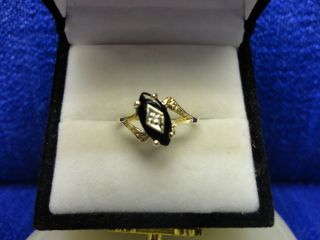 10K Yellow Gold Diamond and Marquise Black Onyx Ring Size 5
