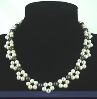 Genuine White & Black Pearl Flower Necklace  LOW PRICE HIGH QUALITY