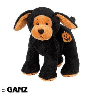 pumpkin plush black dog stuffed animal cute webkinz halloween gift
