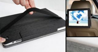 Black Car Seat Smart Leather Cover Stand Case for iPad 2 3 Book Jacket