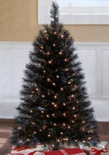 BLACK Pre Lit Christmas Tree 150 Clear lights on 173 branch tips 4ft