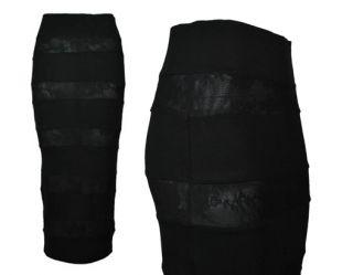 New Womens Black River Island Lace Panel MIDI Tube Bodycon Skirt RRP