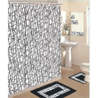18 Piece Bath Rug Set Black White Zig Zag Print Rugs Shower Curtain