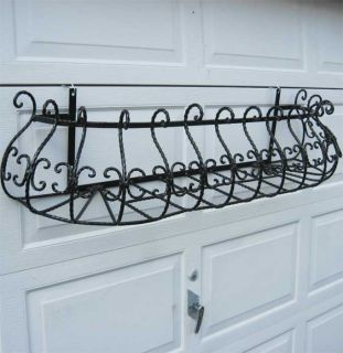 long extra large window box wall plant holder wrought iron in a black