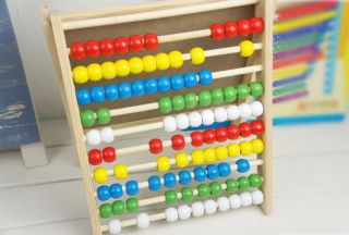 Abacus Counting Frame Slate White Board Wood Frame, Wooden Abacus