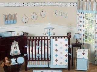 Modern Blue Brown Polka Dot Baby Bedding Crib Set for Newborn Girl