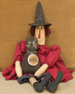 Boo Annie Witch Doll Primitive Halloween Cat Fall Seasonal Stuffed