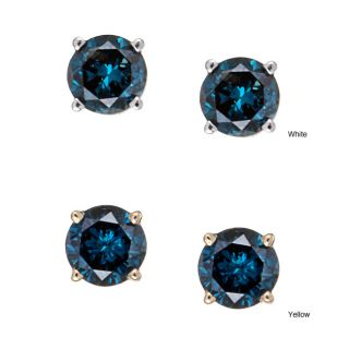 Carat Blue Diamond 14k Gold Stud Earrings