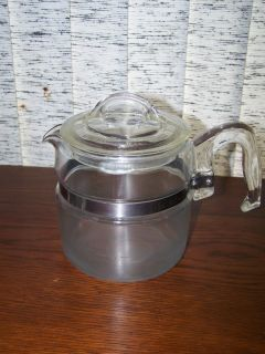 VINTAGE PYREX BLUE FLAME 4 CUP STOVE TOP COFFEE POT ~ POT & LID ~ 7754