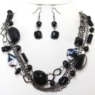Black Pearl Bead Hematite Layered Earrings Necklace Set Costume