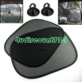 BLACK CAR SIDE REAR WINDOW SUNSHADE SUN SHADE MESH COVER VISOR 2 PCS