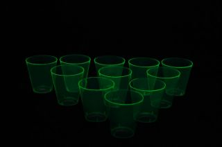 50 Count Neon Green Blacklight Reactive Plastic Shot Glasses