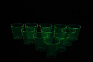 50 Count Neon Green Blacklight Reactive Plastic Shot Glasses