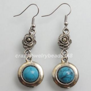 Antique Silver Metal Blue Stone Beads Dangle Earring Pair Z035