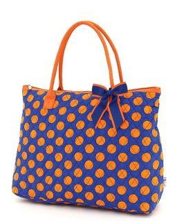 Large Polka Dots Tote Sport Bag Gym Dance Wedding Royal Blue Orange