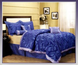 Pcs Blue Ruskins Floral Bedding Comforter Set Bed In A Bag Queen Size