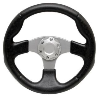 13 1 2 inch Black Grey Vinyl Boat Steering Wheel w Center Cap