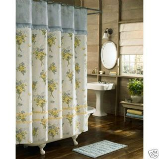 BLUE YELLOW FLORAL RUFFLE SHABBY ENGLISH FRENCH COUNTRY  SHOWER