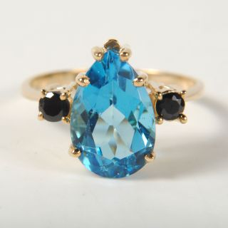 Ladies Pear Shaped 2ct Blue Topaz Sapphire 10K Yellow Gold Ring Size 7