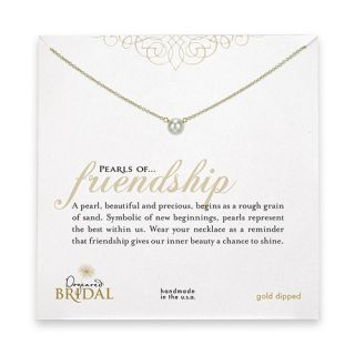 Bridal pearls of friendship gold dipped necklace with white pearl by