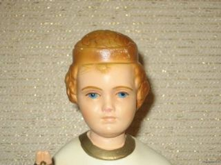 Vintage 1954 Infant of Prague Chalkware Statue 12 1 2 Marked MA 2