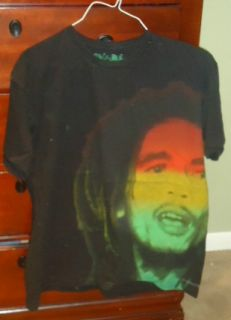 Bob Marley T Shirt Black Yellow Green Size L