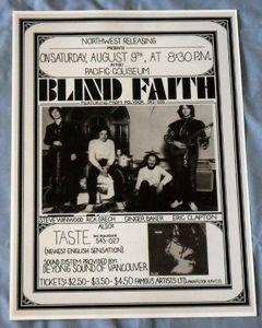 Blind Faith Eric Clapton Concert Poster Vancouver 69