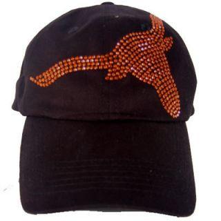 Large Orange Longhorn Rhinestone Baseball Cap Hat