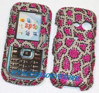 LG Cosmos VN250 Pink Leopard Cheetah Rhinestones Bling Phone Case