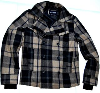 Guess Mens Jacket Authentic Wool Blend Plaid Coat Peacoat Black Tan