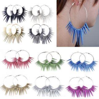 1pair Basketball Wives Bling Spike Beads Hoop Big Circle Earrings Mix
