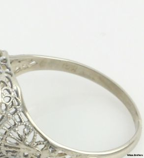 Antique Edwardian Bloodstone Cocktail Ring   10k White Gold Filigree