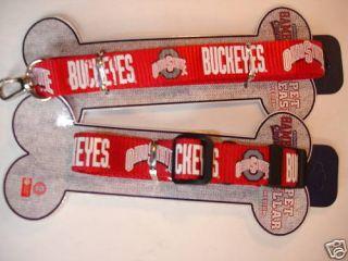 Ohio State Buckeyes Dog Collar Leash Set Medium New