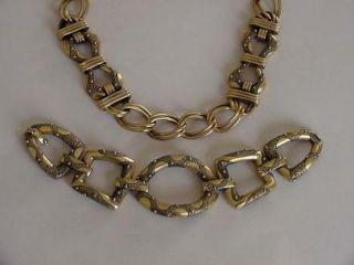 Vtg Monet Necklace Bracelet Set Beaded Gold Metal Embossed Snake Skin