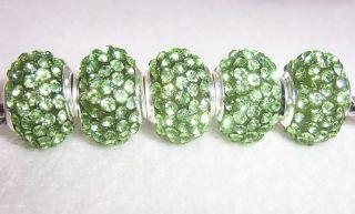 5PCS Green CZ Crystals Beads fit European Charm Bracelet 4311