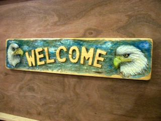 Chainsaw Carving Bald Eagle Welcome Sign Carved Fishing Cabin Decor